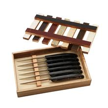 "6 pcs4.5"" Steak Knives wood Box set with pakka wood with 3 S/S rivets, full tang"