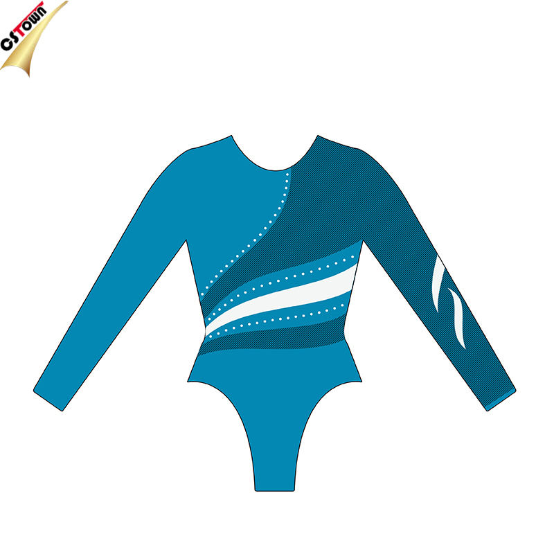 Crystal Gesublimeerd Custom Lycra Gymnastiek Turnpakje met Metallic Stof