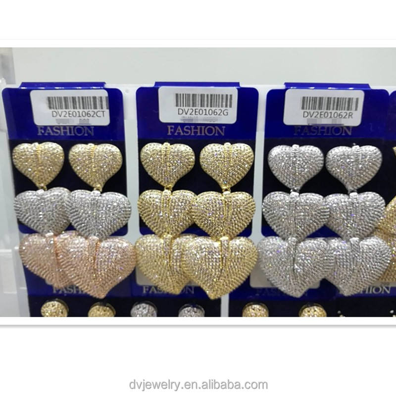 Big discount earring wholesale cupper alloy earring heart-shaped party gold earring for 2018 wedding
