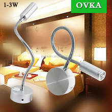 Hotel Home Bed Reading Light 3W Wall Mounted With On/Off Switch Warm Flexible Snake LED Reading Lamp
