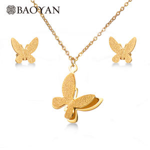 BAOYAN Wholesale 18K Gold Plated Stainless Steel Butterfly Bridal Jewelry Set