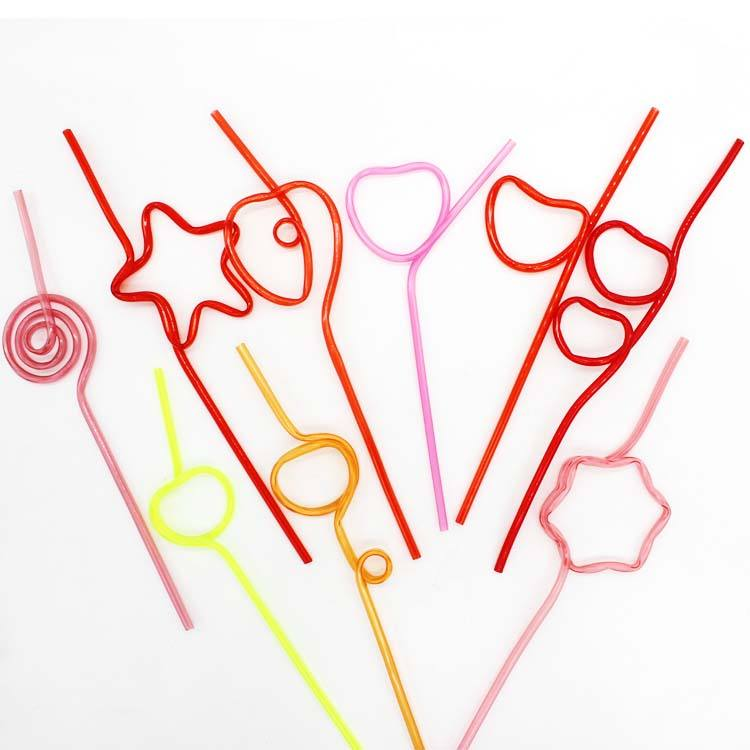 Crazy Drinking Plastic Straws Heart Shape Straw Reusable
