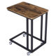 VASAGLE living Room Furniture Small Metal wooden Bed Side Table with Wheels