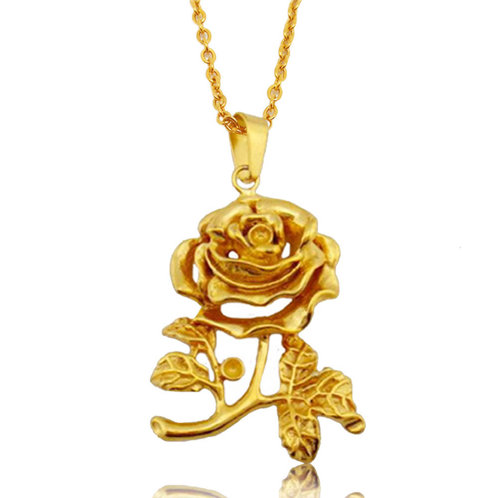 Oliva 18K Gold Flower Charm Artificial Long Stem Rose Necklace Women Bridesmaid Jewelry