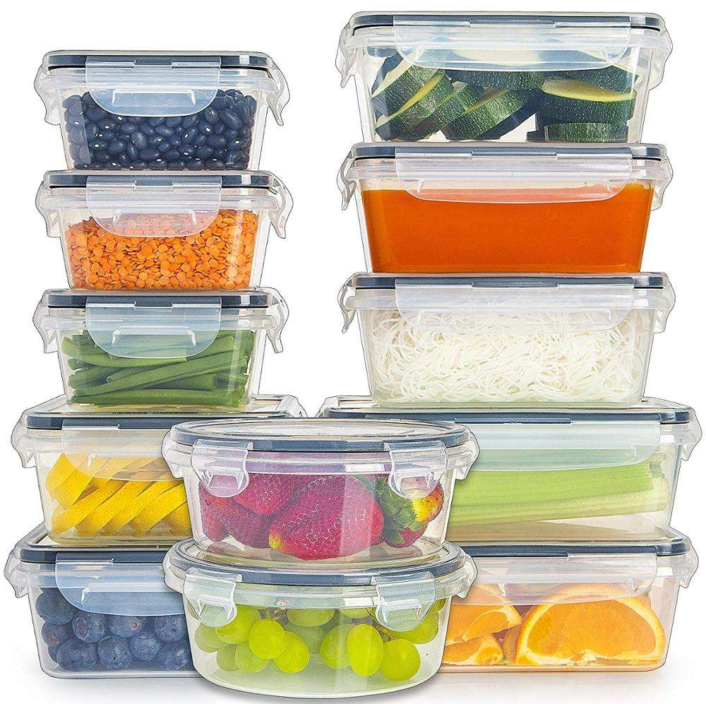 12 Pack Plastic Airtight Stackable Easy Snap Lock and BPA Free Food Storage Containers Sets with Lid for Kitchen Use
