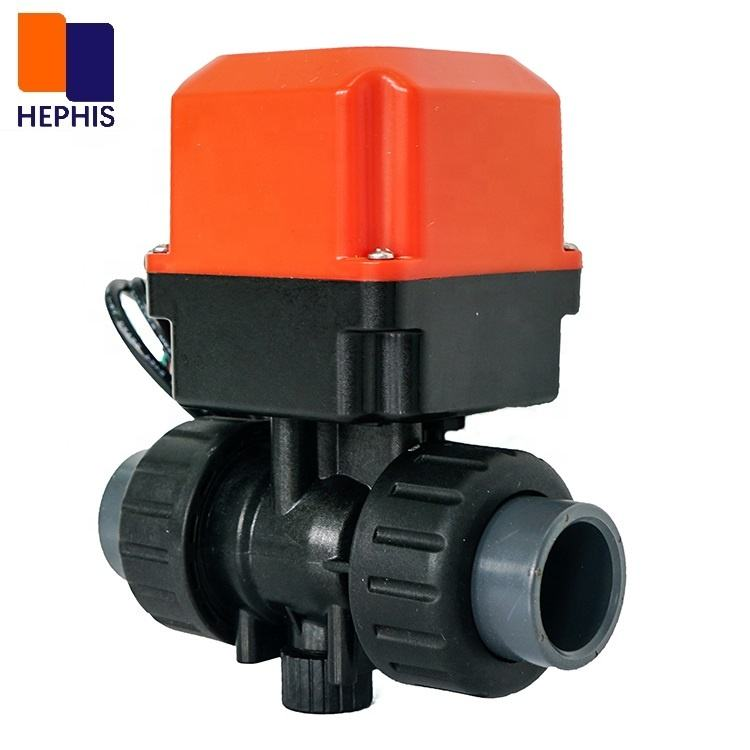 "Ceramic Ball DN25 G1"" AC110V AC220V 2ways Plastic Motor Electric Actuator Operated Motorized Water Valve For Water Treatment"