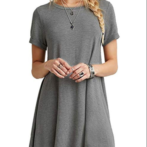 Women's Casual Plain Short Sleeve T-Shirt Loose Dress