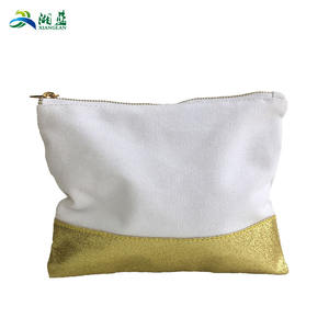Gold foil metal zipper customize logo print makeup bag blank plain basics promotional wholesale canvas cotton cosmetic bag