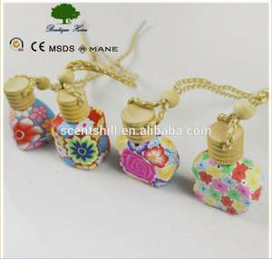 12ml Polymer Clay Perfume glass Essential Oil Car air freshener Hanging Decorations Bottle