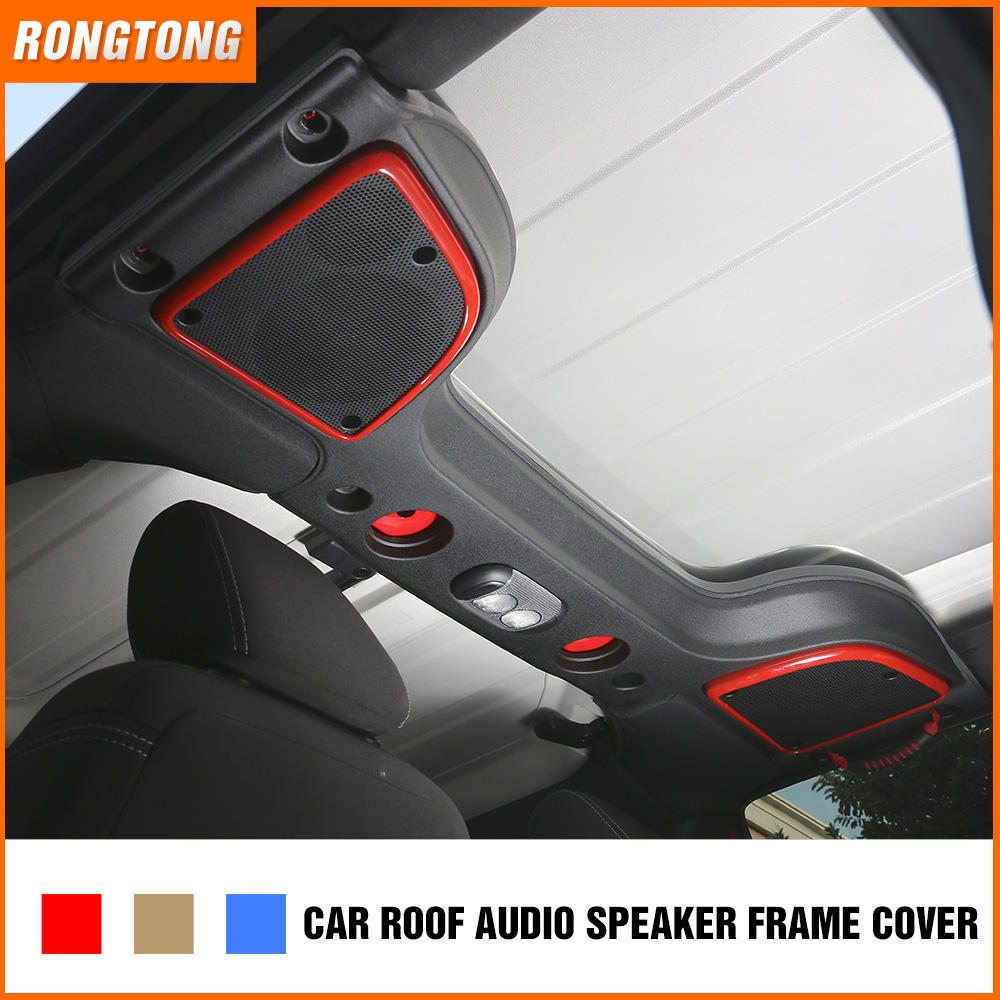 Pair ABS Car Interior Roof Sound Box Speaker Ring Cover Trim for Jeep Wrangler Chrome Silver