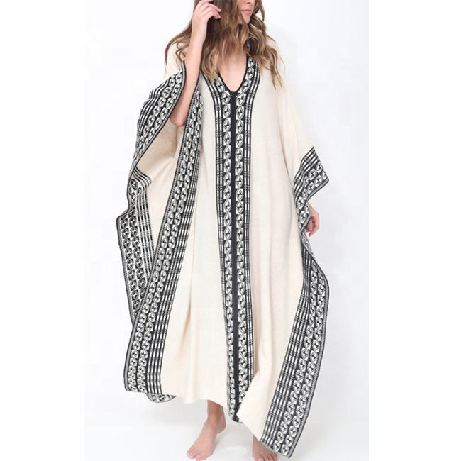 Fashion Women Abaya Dubai Boho Kaftan Loose Dress (16050301)