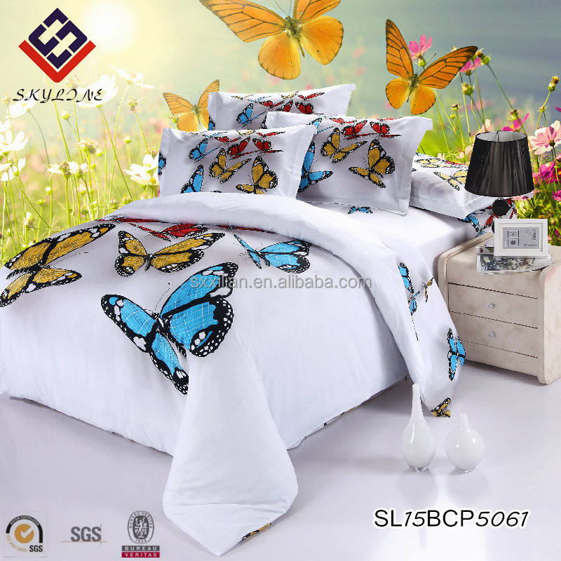 100% egyptian cotton 3D Butterfly floral printing bedding set/bed sheet set/bed cover