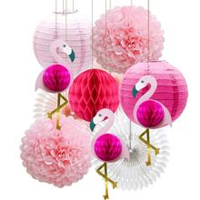 Tropical Pink Flamingo Party Honeycomb Decoration, Pom Poms Paper Flowers Paper Fan Paper Lanterns for Hawaiian Summer Deco