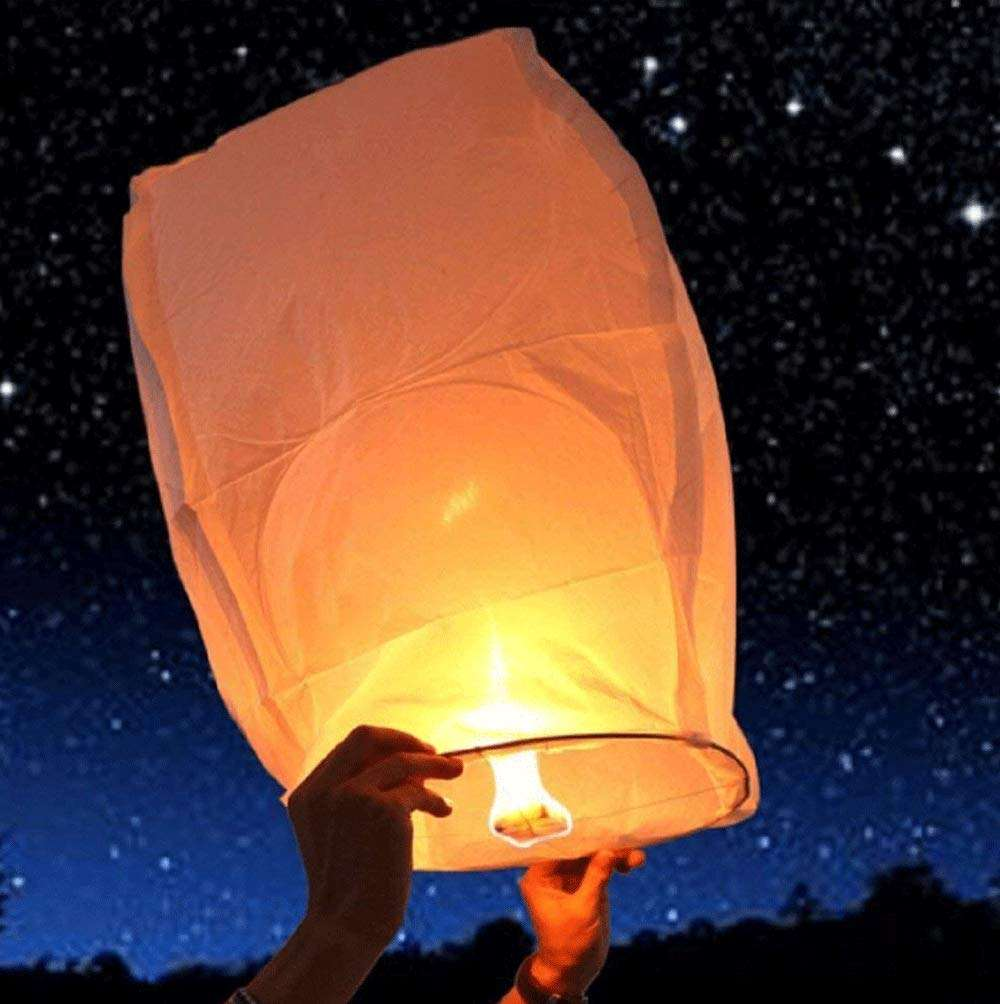 Boomwow Sky Lanterns Chinese Biodegradable Paper Large Romantic Flying Wishing Lanterns for Party Celebration