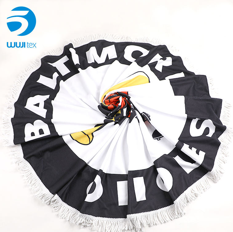 customized luxury quality round printed beach towel