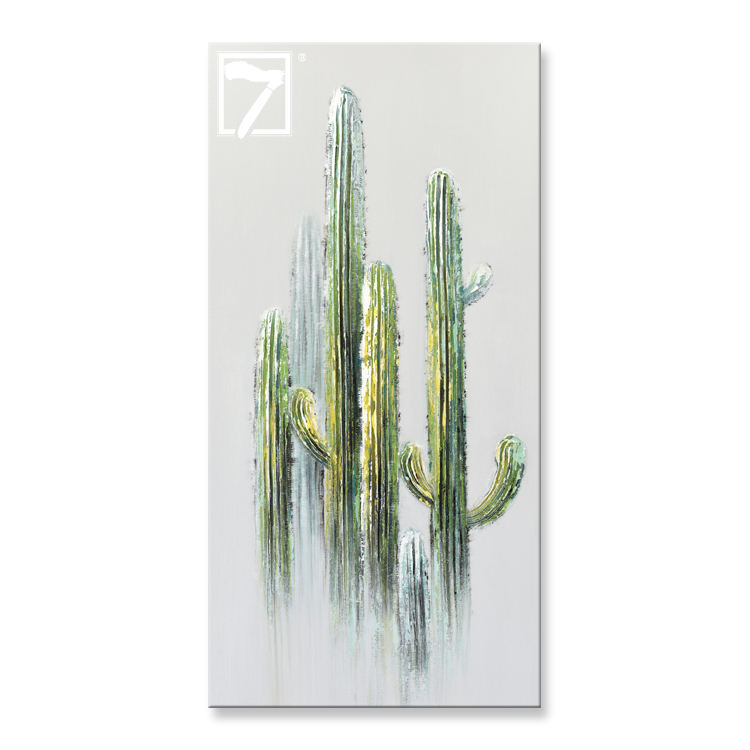 Hot Selling Cactus Artwork Succulent Plant Painting Canvas Wall Art