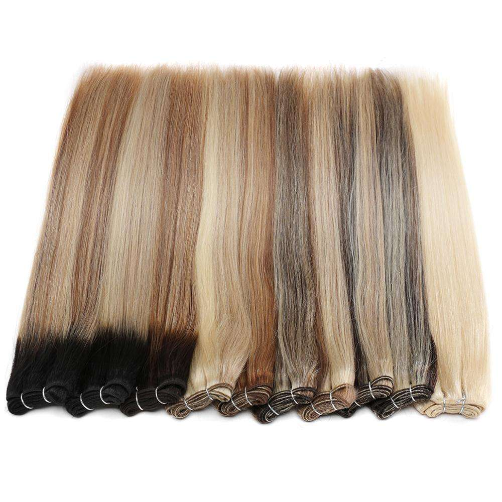 Remy Human Hair Straight Balayage Hair Weft ,Dyed Color Brazilian Hair Extensions Highlighted/Honey Blonde