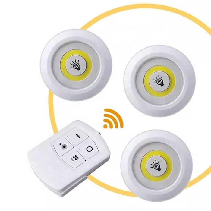 3Pack Ultra Bright 150 Lumen COB LED Puck Light With Remote Control Under Cabinet Light Wireless Battery Operated Tap Push Light