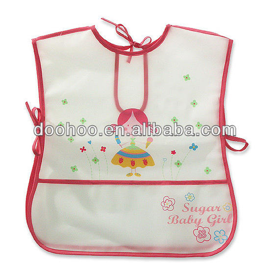 popular smooth eva bid,plastic printed pinafore, disposable bady apron