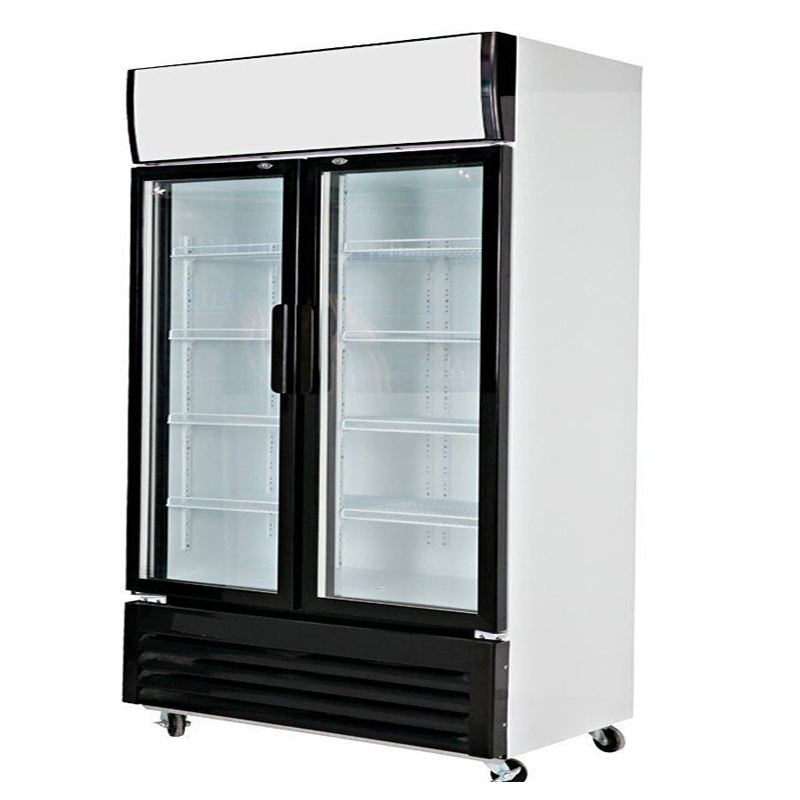 700L Commercial Double Glass Door Luxury Kitchen Upright Refrigerator Vertical Freezer