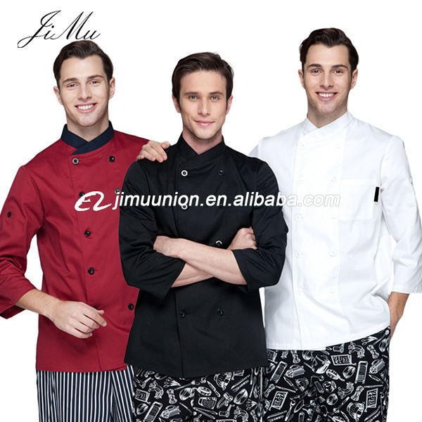 Fashion Lange Mouwen Double breasted wit zwart keuken werknemer slijtage chef kok dragen jas jas <span class=keywords><strong>uniform</strong></span> chef indonesië