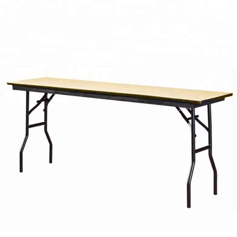 Hotel Banquet Party Rectangular Wooden Table Steel Frame Folding Table