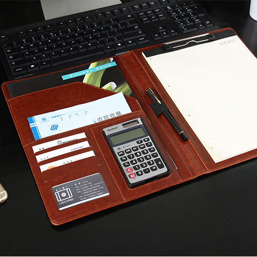 PU leather portfolio with zipper closed Promotional gifts New fashion Luxury Presentation Ring binder notebook Clip file