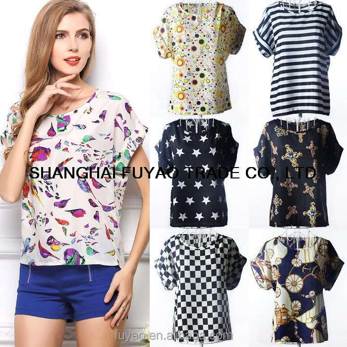 NEW Fashion Short Sleeve Summer Chiffon women Blouses Casual dot star bird animal Printed Tops shirts ladies C