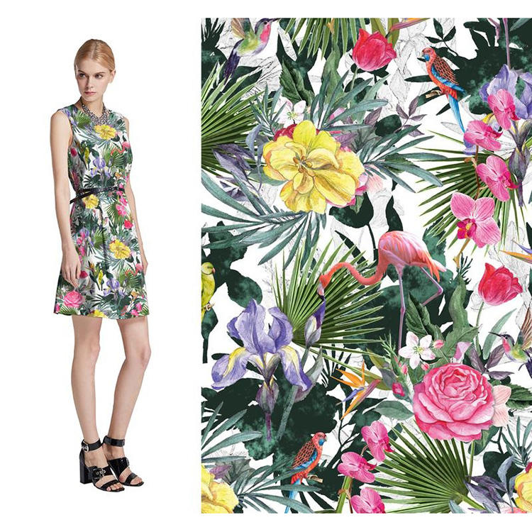 Custom Flower Printed 100% Cotton Canvas Fabrics For Women Dress