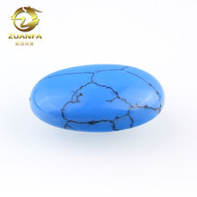 hot selling natural stone oval shape real turquoise beads with hole