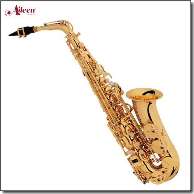 Musical instruments High F# Eb Key Golden Lacquer Alto Saxophone (SP1011G)