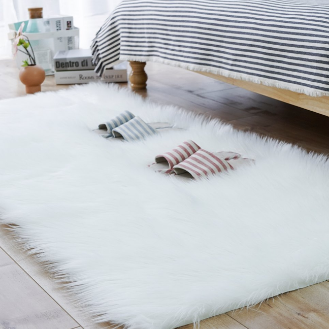 2ft x 3ft 3ft x 5ft 4ft x 6ft Rectangle White Sheepskin Hairy Carpet Shag Carpet Faux Fur Sheepskin Area Rug