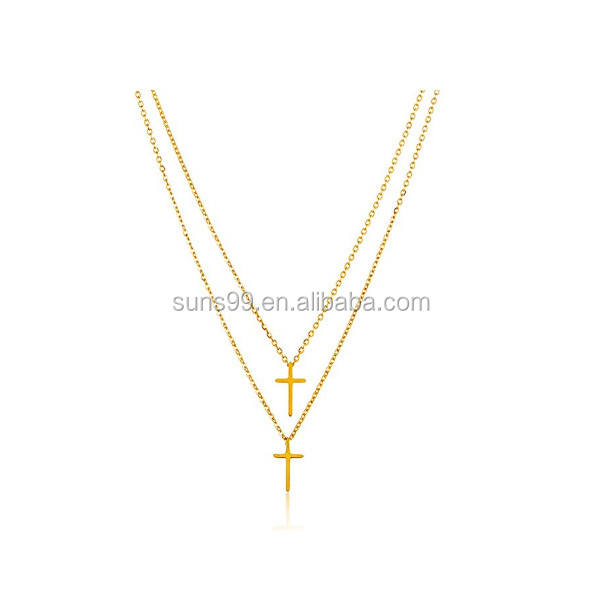 Gold Plated High Polished Cross Stainless Steel Pendant Necklace Fashion Jewlery Wholesale