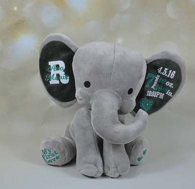 2018 new products free sample personalized birth gift plush stuffed animal big ear elephant toy