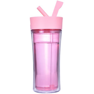 Various Color Factory Price 12oz Plastic Water Bottle BPA Free Custom Logo Plastic Sport 600ML Water Bottle With Straw