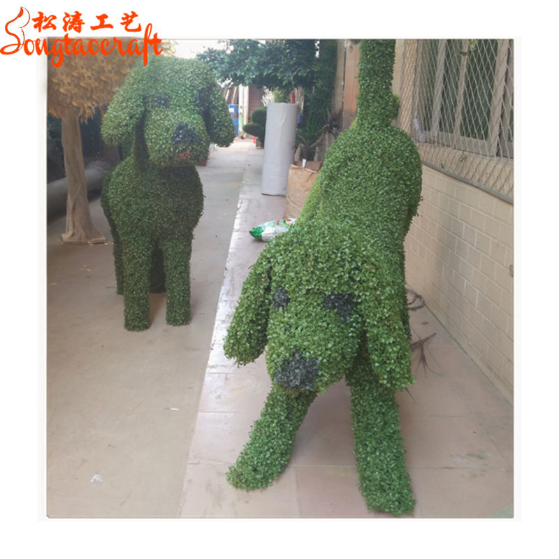 Different posture metal structure dog artificial topiary animal artificial dog grass animal