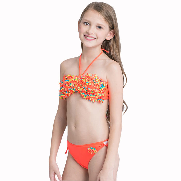 Strap Floral Swimwear String Swimsuit Girl Child Beachwear Cute Kid Bikini