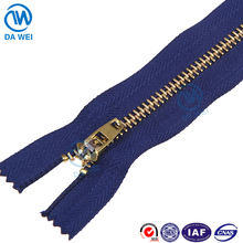 DW YiWu Factory wholesale best price close end YG slider brass zipper names jeans