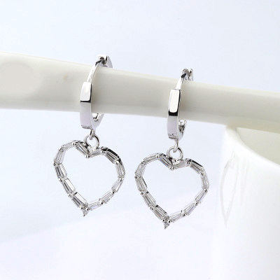 Custom bridal paved rhinestone siver heart earring spring 925 sterling silver heart drop wedding earrings for brides