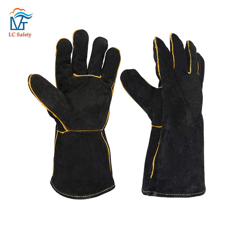Black Cow Split Leather Heavy Duty Welding Gloves