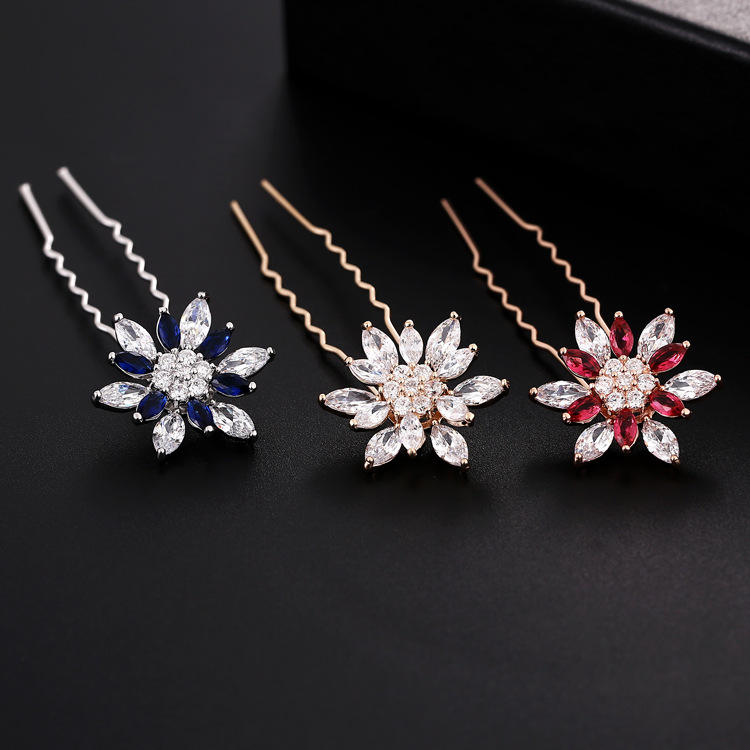New Silver Plated Wedding Bridal Rhinestones Crystal Pearl Flower HairPin