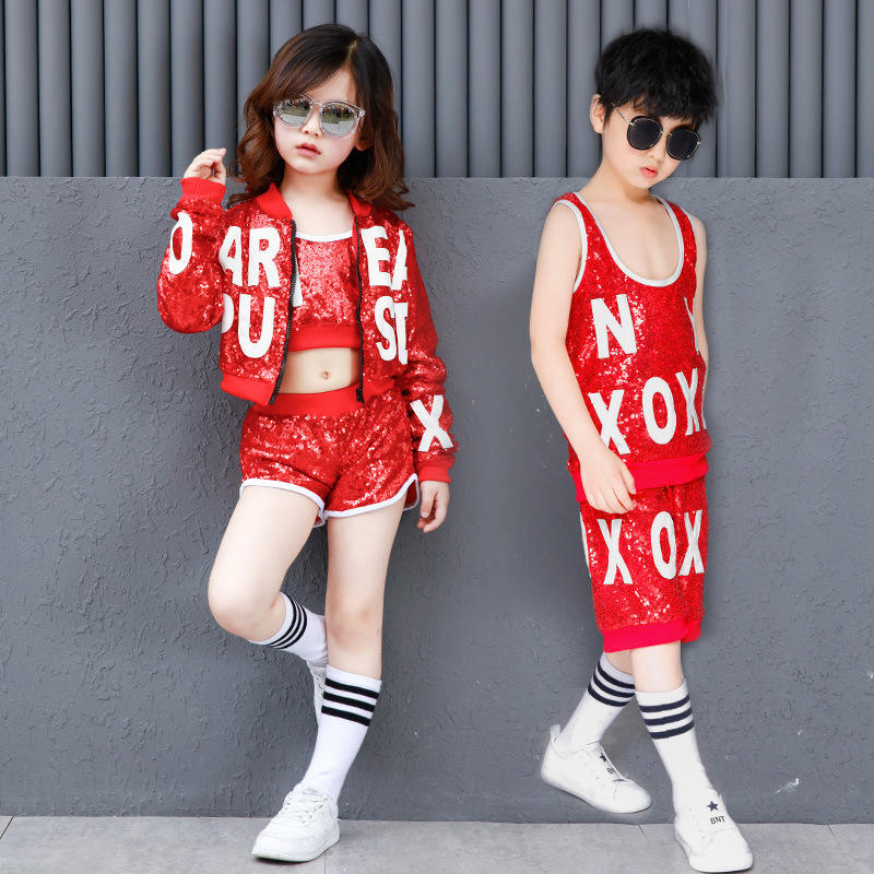New style China red kids dance costume
