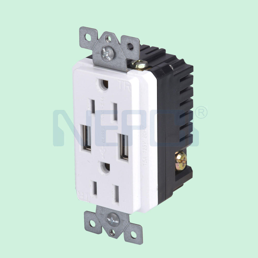 USA Duplex wand steckdose 2.1A High Speed USB Charger Receptacle 16A Tamper Resistant Outlet & Wall Plates