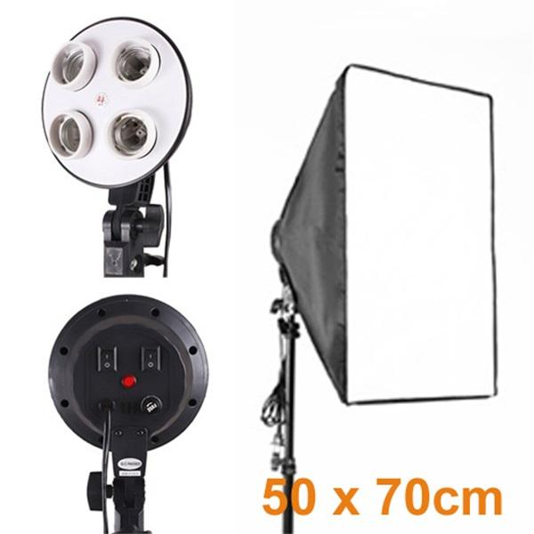 Portable photo studio E27 lamp socket softbox with four-capped lamp holder