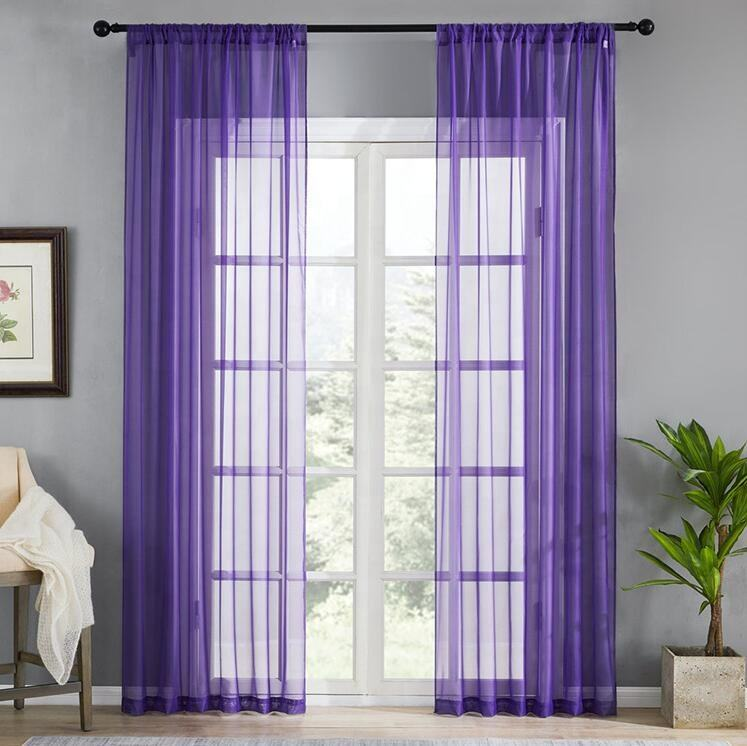 Solid Color Polyester Window Treatment Screening Cheap Organza Soft Plain Voile Drape Panel Tulle Sheer Curtains For Hotel Door