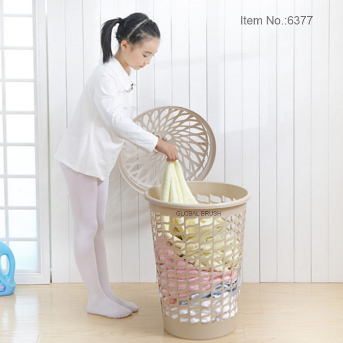 HQ6377 room assorted colors round plastic laundry basket with cover