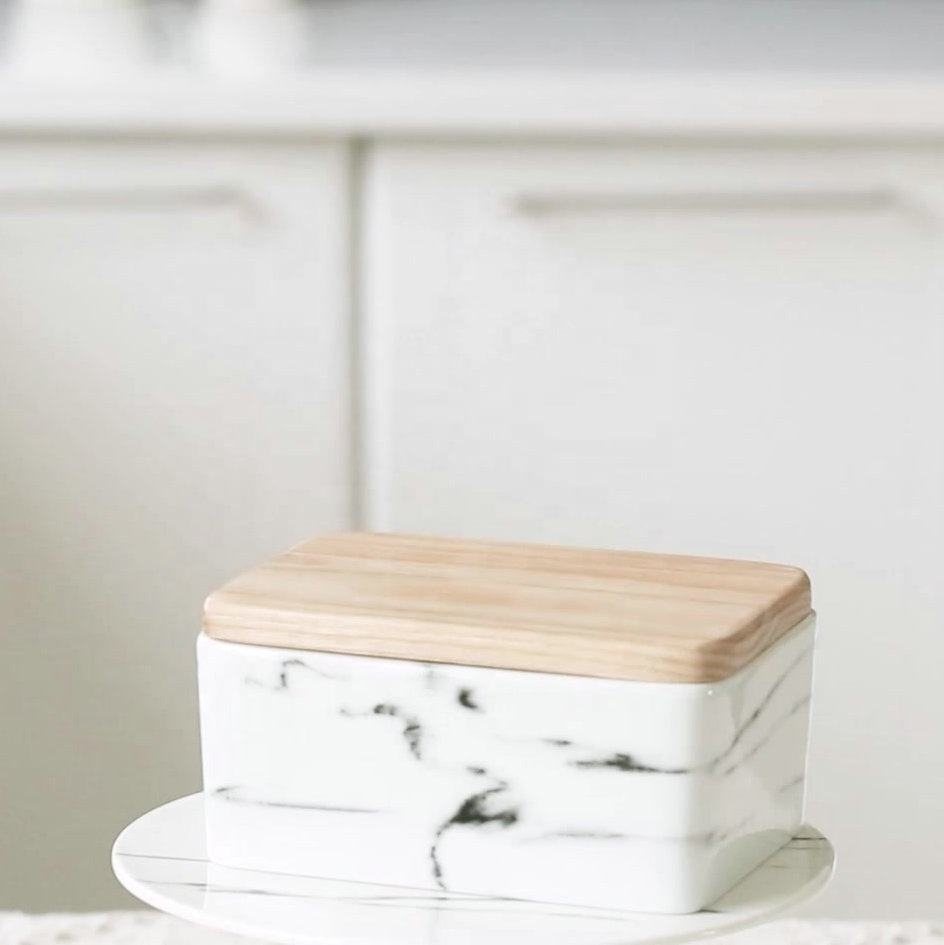 Hot sale rectangular marble porcelain butter dish with wooden lid
