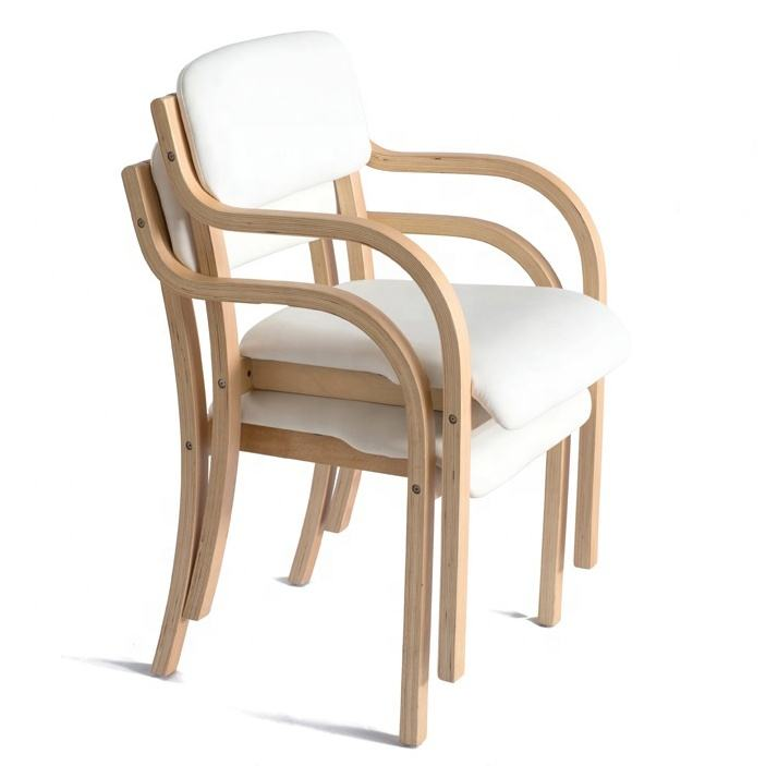 Wholesale Classic Nordic Cheap Wood Armrest Leather French Stackable Bent Plywood Bentwood Wooden White Dining Chair