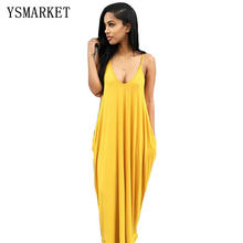 YSMARKET Women Sexy Hollow Out Back Dress Pure color Straps Pockets Dress Beach Long Maxi Dress Sundress EA757