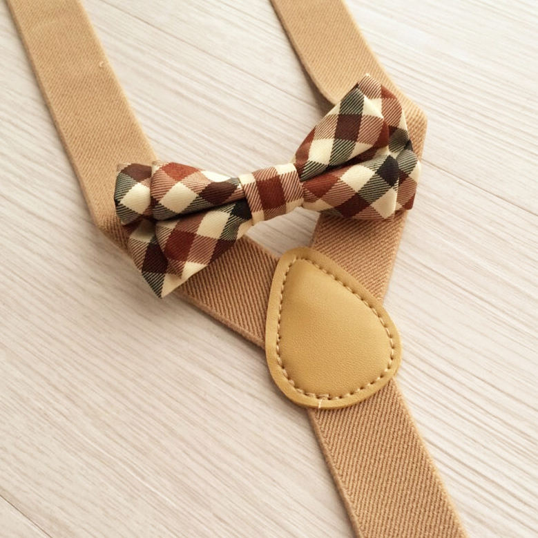 Best selling cream -colourful kids 3clips with scotland grid bow ties brace pants for trouser